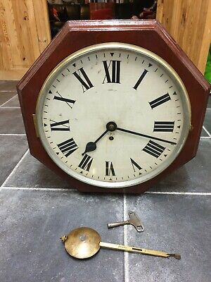 """Antique 12"""" dial Octagonal GPO chain driven Fusee Station Double Dial Wall Clock"""