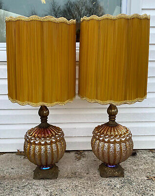 "2 HUGE 42.5"" Iridescent Mid-Century Modern Retro Amber Glass Table Lamps &Shades"