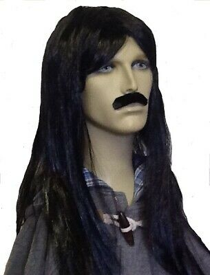 Long Black Straight Style Men's Fancy Dress Wig & Self Adhesive Moustache