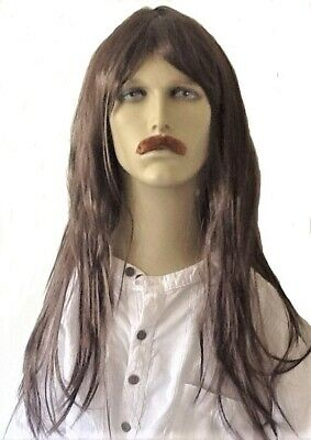 Long Brown Straight  Men's Fancy Dress Wig & Self Adhesive  Moustache