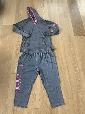 Girls Youth Under Armour Hoodie Top & Tech Crop Pants Set Grey/Pink Size Xl