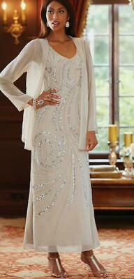 Woman's Beaded Formal Dress Suit size L Champagne Beige Evening Gown and Jacket