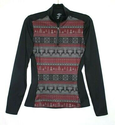 Hot Chillys Womens Fitted Half Zip Shirt Holiday Winter Black Size Medium