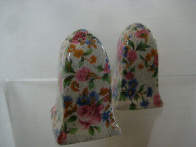 Chintz vintage Salt Pepper SHAKERS England ceramic pink blue floral 2.5""