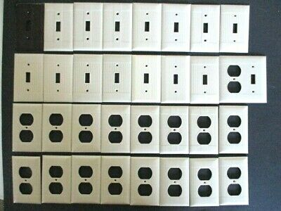 Lot of 32 Vintage Bakelite Ivory Ribbed Wall Plate Outlet Covers Switches NICE!