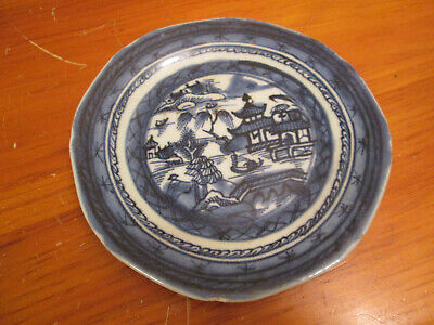 "Antique Chinese Export Canton Blue & White 6"" Porcelain Plate - 200 Years Old"