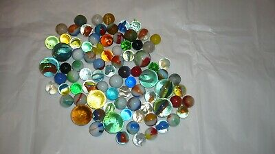 72  Vintage Colorful Glass Playing Marbles Includes Shooters
