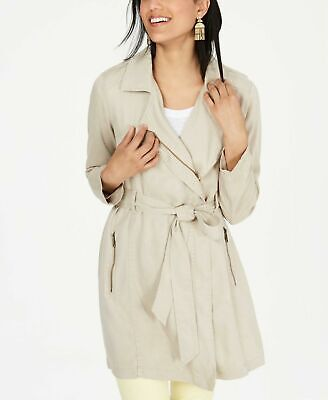 Size M Style & Co Womens Solid Trench Jacket Belted Draped  Beige/Khaki NWT