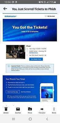 PHISH TICKETS: Hershey Park NIGHT 1, TUESDAY 8/11/20 This is for both tickets