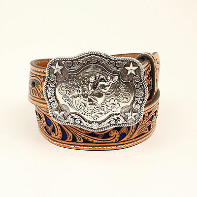Nocona Tan/Blue Leather Boys Glitter Belt