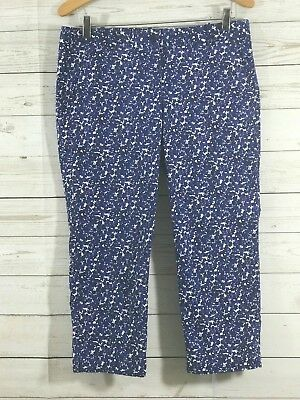 Talbots Signature Womens Cropped Capris Pants Blue White Size 8