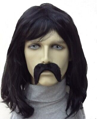 Shoulder Length Black Fancy Dress Wig & Thick Self Adhesive Droop Moustache.