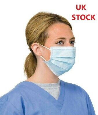 50 Disposable Surgical Face Mask For Virus & Flu Protection W/ Elastic Ear Loop