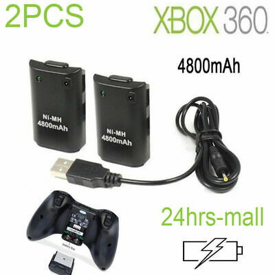 4x FOR NEW XBOX 360 BLACK RECHARGEABLE BATTERY PACK +PLUG AND PLAY CHARGER CABLE