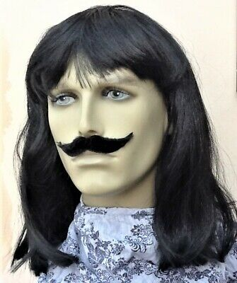 Shoulder Length Black Fancy Dress Wig & Stylish Self Adhesive Droop Moustache.