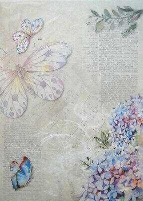 Rice Paper for Decoupage Scrapbooking Flowers Birds Butterflies A4 ITD R1059