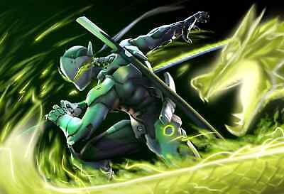 Overwatch Genji Blizzard Game Poster Print T524 A4 A3 A2 A1 A0 