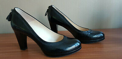 MARY PORTAS & CLARKS Black Patent Leather LA WESLEY Back Zip Court Shoe 7.5 UK