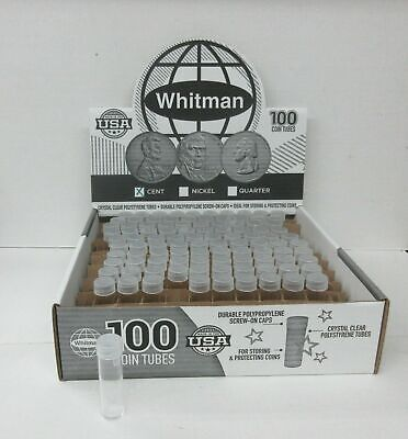 20 Whitman penny cent round clear plastic coin tubes