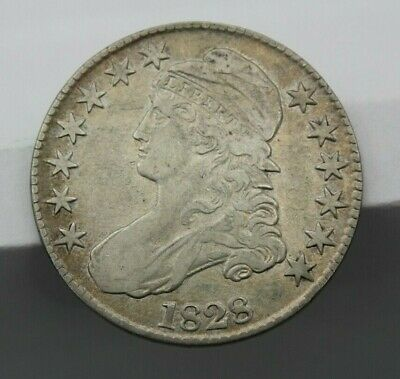 1828 Capped Bust Half Dollar Square Base Large Letter Very Fine