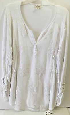 Size 2XL Style & Co. Womens Embroidered Split Neck Pullover Top White NWT