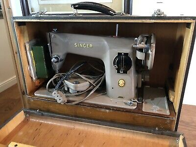 Vintage Singer Electric Sewing Machine Model No:- 201K, With Attachments & Books
