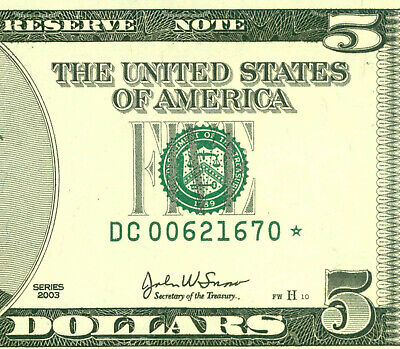 US 2003    5 Dollars  ( DC 670 STAR )  World paper money currency banknotes.