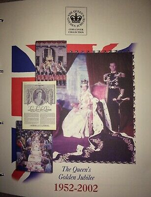 The Queen's Golden Jubilee Collection.RARE.15 x coin,24 x stamp covers,1952-2002