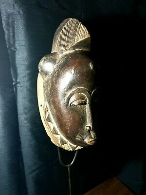 Mask African Carved Wood  Tribal Wall Hand Vintage Art Wooden Face  8545