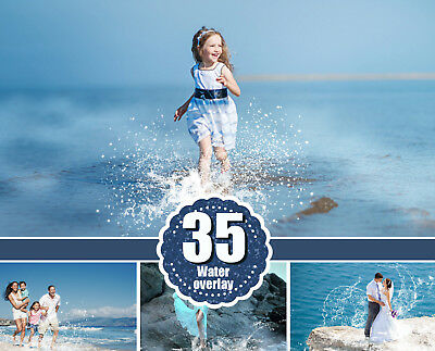 35 water splash photo Overlays, Photoshop Overlay, Photography Overlays