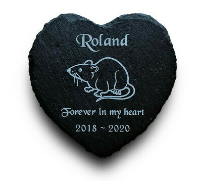 Personalised Engraved Slate Heart Pet Memorial Grave Marker Plaque for a Rat