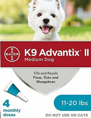 Bayer K9 Advantix II Flea Treatment Medium Dog 11 - 20 lbs 4 Doses (Box Vary)