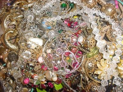 Jewelry Vintage Huge Lot Now Junk Art Craft Box FULL POUNDS Beads Stone Chain ++