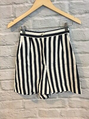 VTG State Of Claude Montana Black White Striped High Waist 80's Shorts Sz 38/4