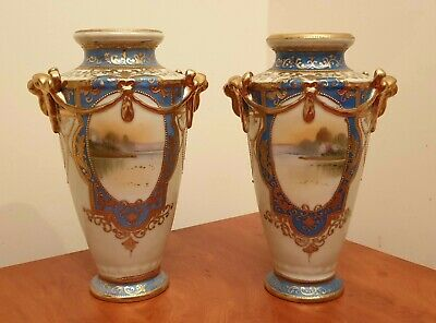 Exquisite early 20th century Noritake hand painted and gilded vase pair