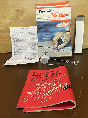 Vintage Betty Ann's Tailor Marker Kit Needle Threader Instructions and Sewing Hi