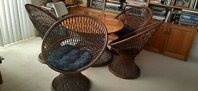Table and chairs Retro vintage wood rattan wicker cane 1970 fan circle floral