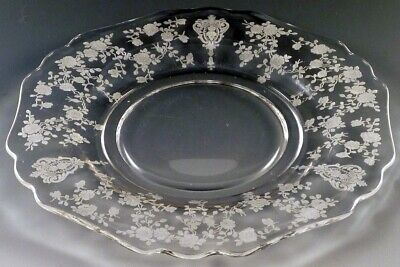 """Fostoria Cambridge Rose point-etched 15"""" clear crystal serving tray"""
