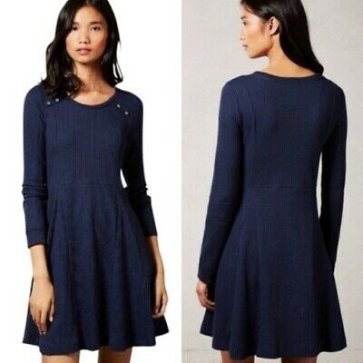by Eloise Anthropologie M/L Navy Chiara Ribbed Knit Pullover A-Line Dress