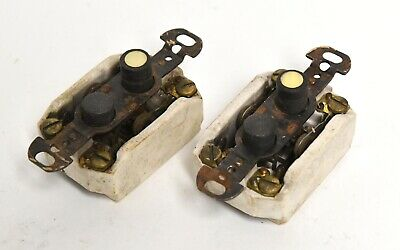 2 Vintage Push Button Electrical Light Switch Double Pole Architectural Salvage