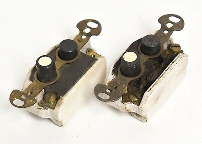 2 Vintage Perkins Push Button Electrical Light Switch Single Pole