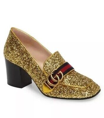 Gucci Peyton Marmont Gg Logo Gold Glitter Mid Heel Loafer Shoes Us 7.5 New
