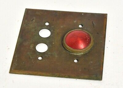 Vintage Brass Electrical Push Button Switch Plate With Red Light Dome