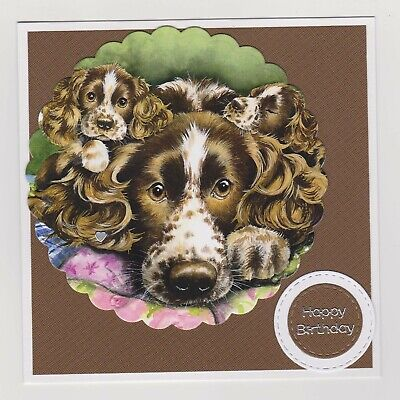 Blank Handmade Greeting Card ~ HAPPY BIRTHDAY with DOG AND PUPPIES IN CIRCLE
