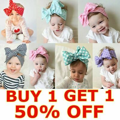 Baby Toddler Kids Girl Large Bow Headband Hair Band Headwear Head Wrap Cotton UK