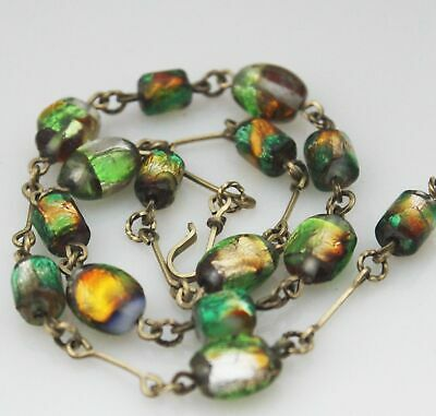 Art Deco Necklace Green Foil Glass Beads Jewellery Antique 1920s Jewelry 20s