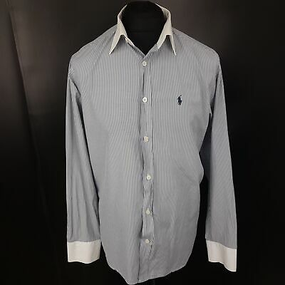 Polo Ralph Lauren Mens Casual Shirt LARGE Long Sleeve Blue Slim Fit Striped
