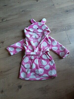 Girls Hooded Pink Dressing Gown, Aged 2-3 Years From George