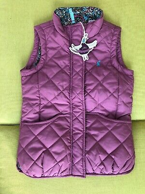 BNWT Little Joule Joules Girls Funnel neck Quilted Gilet - Dusky Rose Pink 8 Yrs