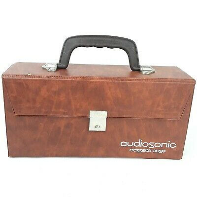 Audiosonic Cassette Case Tape storage carry box Brown Vintage LotA Flawed